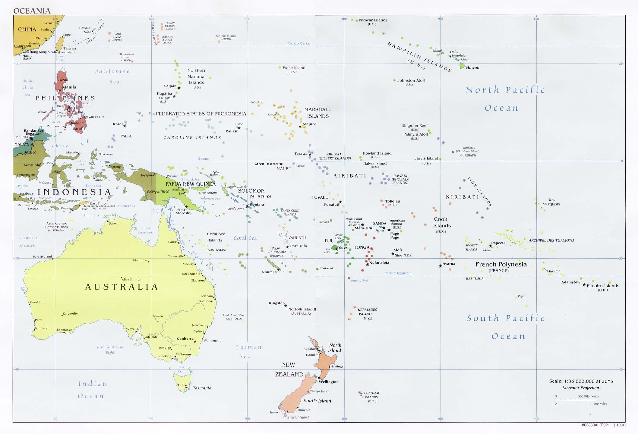 Karta Australien Adelaide.Australien Och Oceanien Karta Politisk Karta Over Australien Och