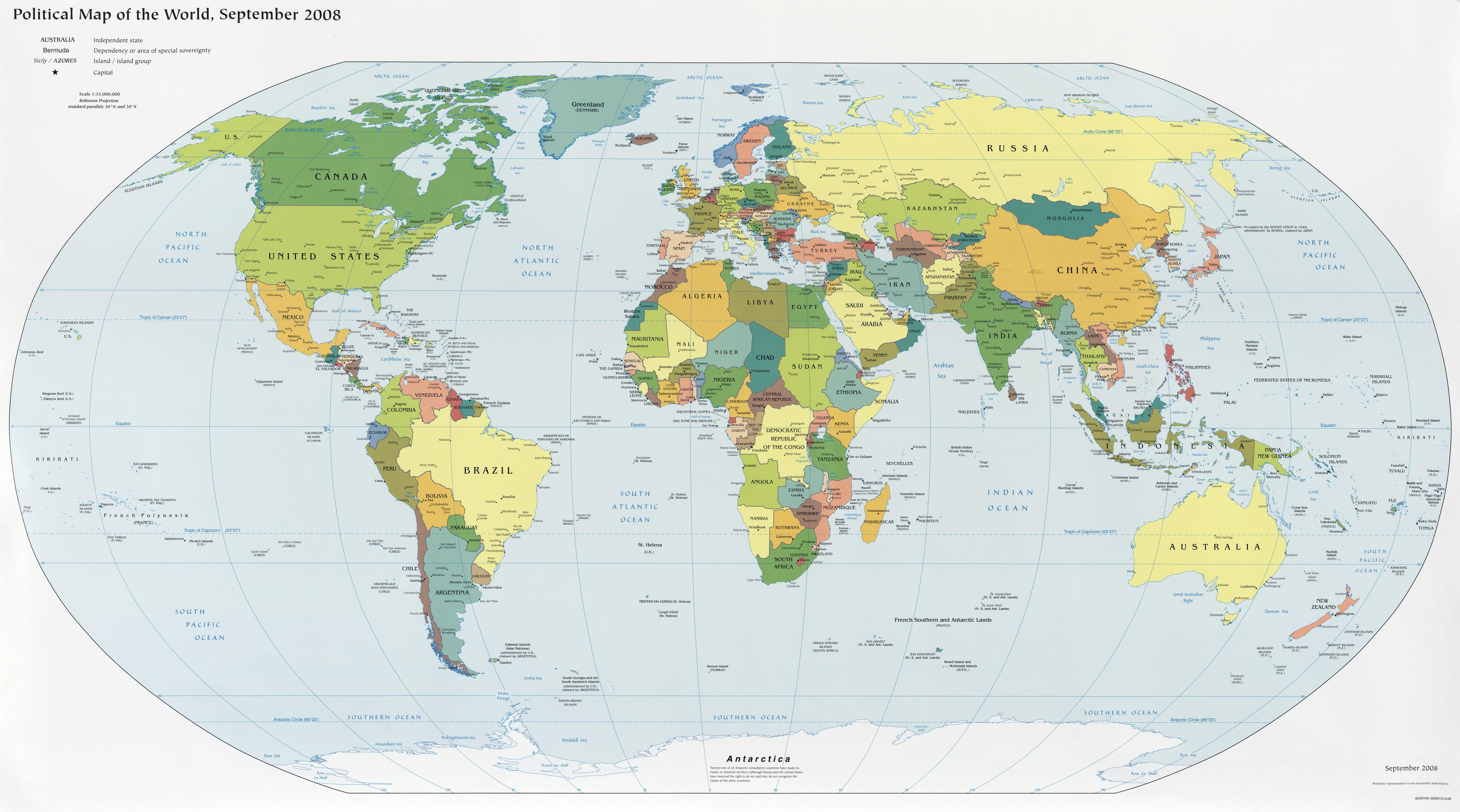 Varldskarta Politisk Karta Over Varlden 2008